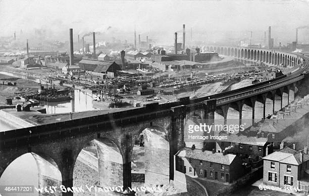 West Bank Viaduct, Widnes, Cheshire, c1920. The bridge over the Mersey between Widnes and Runcorn cut 9 miles off the journey between Liverpool and...