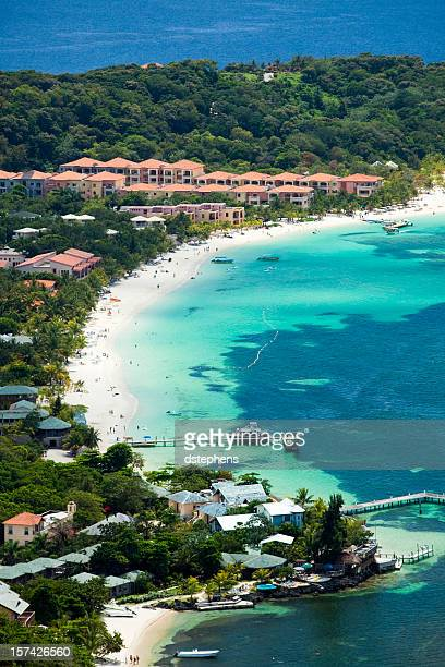 west bay beach aerial - honduras stock pictures, royalty-free photos & images