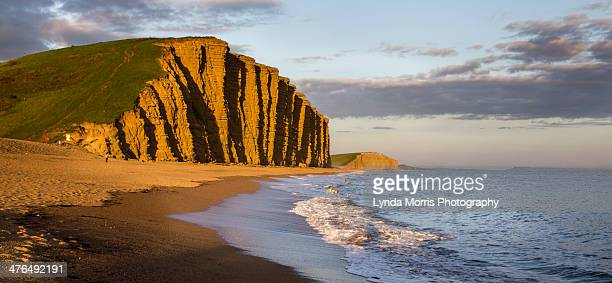 west bay dorset - cliff and beach view at sunset - 英国 ドーセット ストックフォトと画像