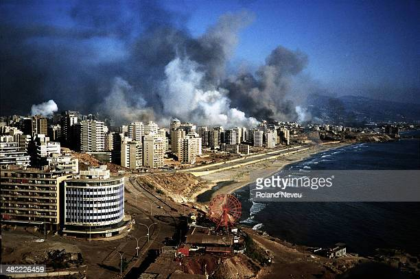 West Beirut areas between the city and the airport under heavy shelling by Israeli army during the Summer 1982 invasion and the war against the...