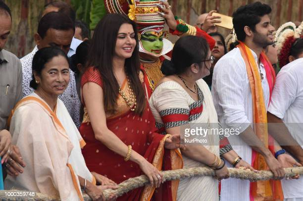 West Bengal Chief Minister and All India Trinamool Congress Political party Chief Mamata Banerjee Mamata Banerjee and actress Bhagyashree at the...