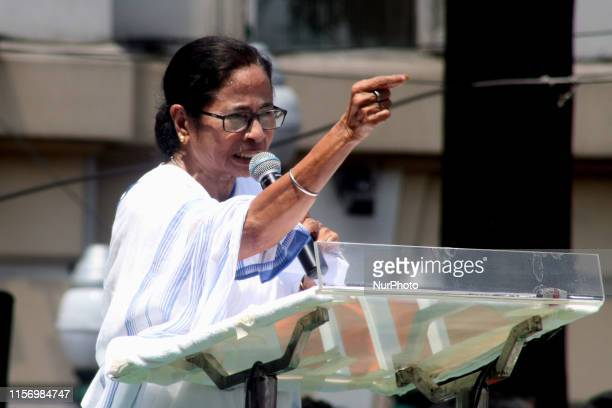 West Bengal Chief Minister and Trinamool Congress Party chief Mamata Banerjee address at the Trinamool Congress Sahid Divas rally, in Kolkata on July...