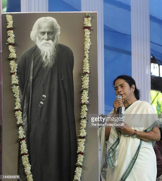 West Bengal Chief Minister Mamata Banerjee addresses media at 150th birth anniversary celebrations of Nobel Laureate Rabindranath Tagore at Rabindra...