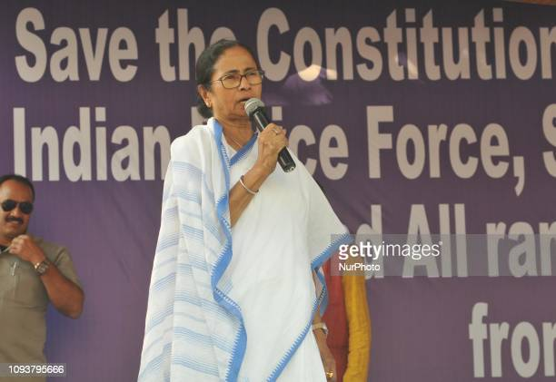 West Bengal Chief Minister Mamata Banerjee at the 2nd day Dharna during the protest against BJP Narendra Modi Government on February 04,2019 in...