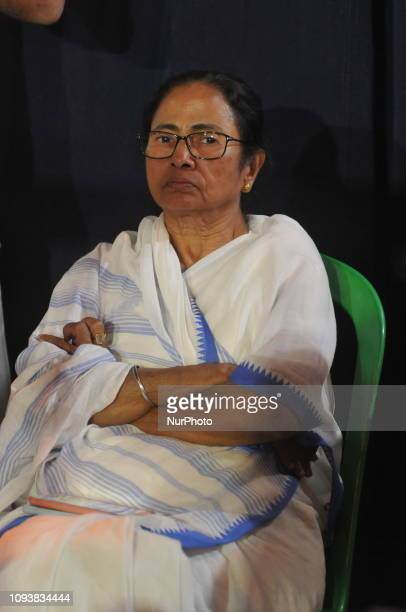 West Bengal Chief Minister Mamata Banerjee attends during a sit-in demonstration over the CBI on February 04,2019 in Kolkata, India.