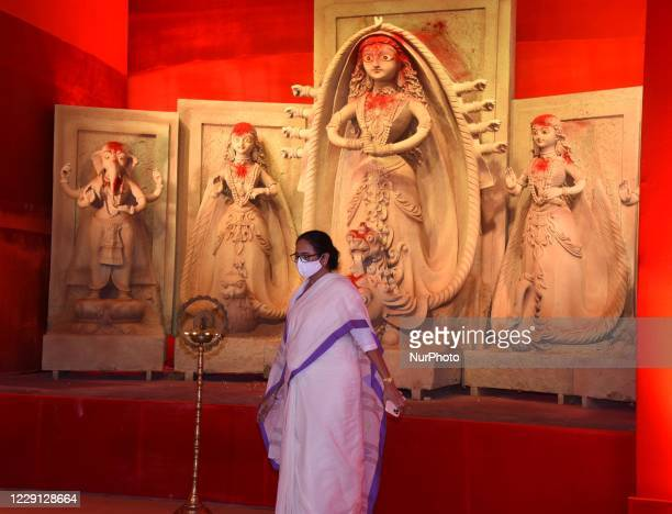 West Bengal Chief Minister Mamata Banerjee inaugurates temporary platform of a community Durga Puja pandal is decorated in Kolkata, India on 17th...