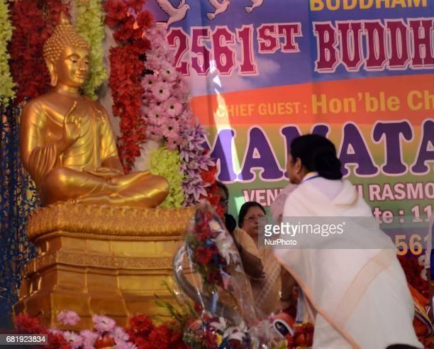 West Bengal Chief Minister Mamata Banerjee praying during the Buddha Purnima festival in Kolkata India on Thursday 11th May 2017