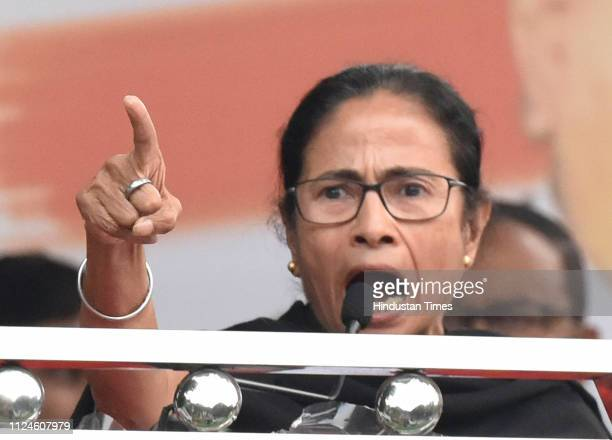 West Bengal Chief Minister Mamata Banerjee speaks during the 'Save Democracy' rally to protest against the Bharatiya Janata Party government at...