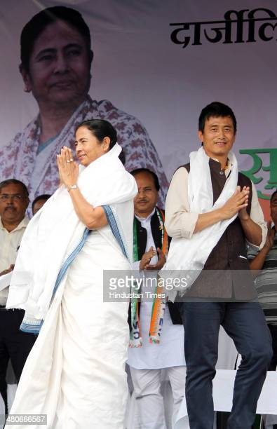 West Bengal Chief Minister Mamata Benerjee and Darjeeling candidate Bhaichung Bhutia during the election rally at Gorubathan on March 26 2014 in...