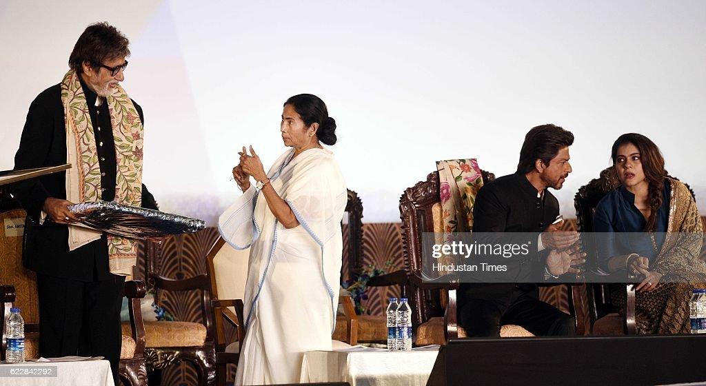 West Bengal CM Mamata Banerjee Bollywood actors Amitabh Bachchan Shah Rukh Khan and Kajol during an inauguration of the 22nd Kolkata International...