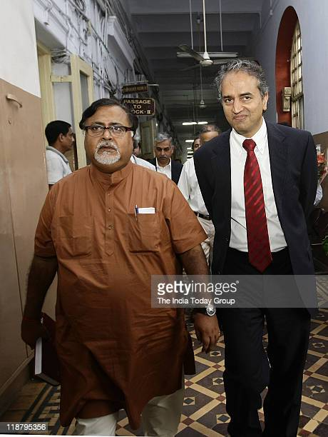 West Bengal Industry Minister Partha Chatterjee and Dr Devi Shetty after the meeting at Writer's Building on Wednesday