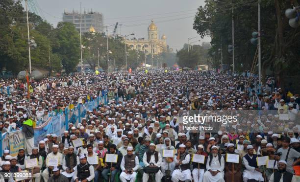 West Bengal State Jamait Ulama EHind activists and supporters during a peaceful protest gathering for recognition of Palestine as Free State and...