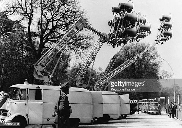 West Berlin authorities are setting up huge loudspeakers to spread beyond the wall news and slogans for East Berliners on May 10 1963 in Berlin...