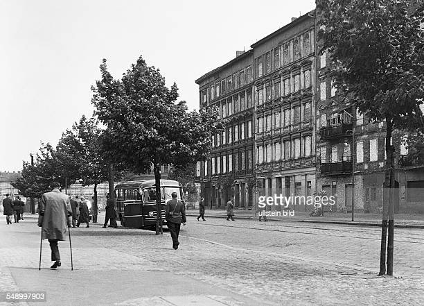 West Berlin street scene at Bernauer Strasse situated directly to the border to East Berlin