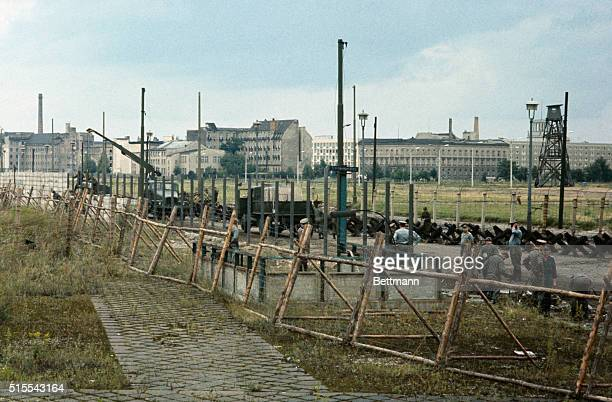 West Berlin West Germany Communist soldiers building 'modern wall' near Potsdamer Platz