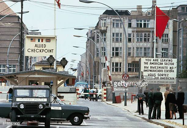 West Berlin West Germany General view of Checkpoint Charlie border crossing