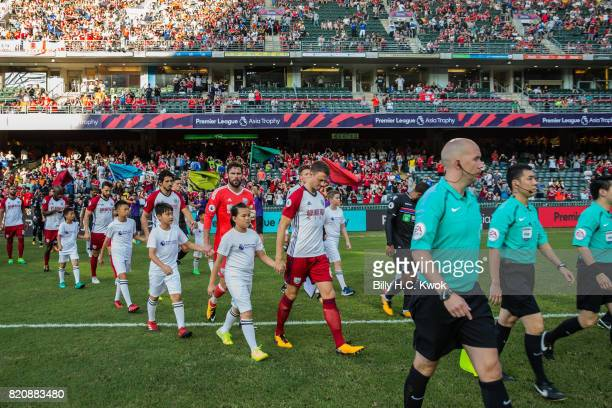 West Brom and Crystal Palace line up before the Premier League Asia Trophy match between West Brom and Crystal Palace at Hong Kong Stadium on July 22...