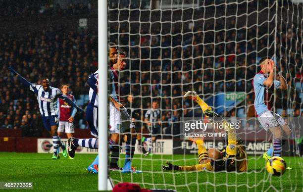 West Brom go 20 up as Fabian Delph of Aston Villa scores an own goal during the Barclays Premier League match between Aston Villa and West Bromwich...