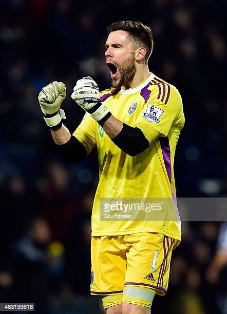 West Brom goalkeeper Ben Foster celebrates the second goal during the Barclays Premier League match between West Bromwich Albion and Swansea City at...