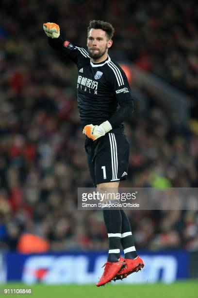 West Brom goalkeeper Ben Foster celebrates their 2nd goal during The Emirates FA Cup Fourth Round match between Liverpool and West Bromwich Albion at...