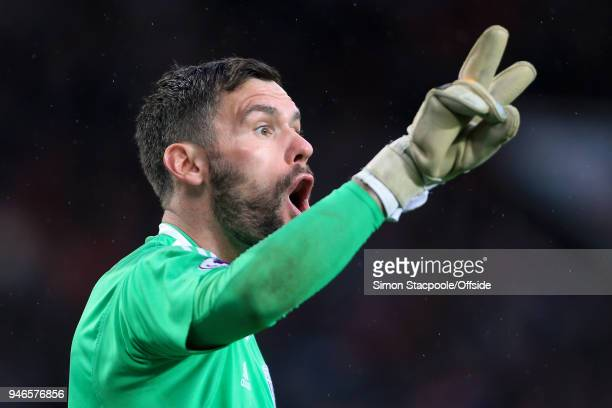 West Brom goalkeeper Ben Foster gestures during the Premier League match between Manchester United and West Bromwich Albion at Old Trafford on April...