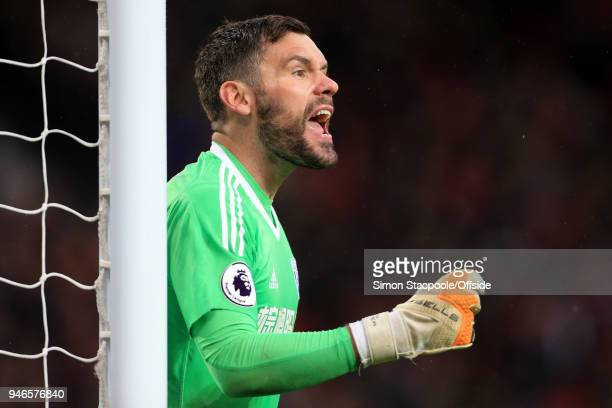 West Brom goalkeeper Ben Foster shouts during the Premier League match between Manchester United and West Bromwich Albion at Old Trafford on April 15...