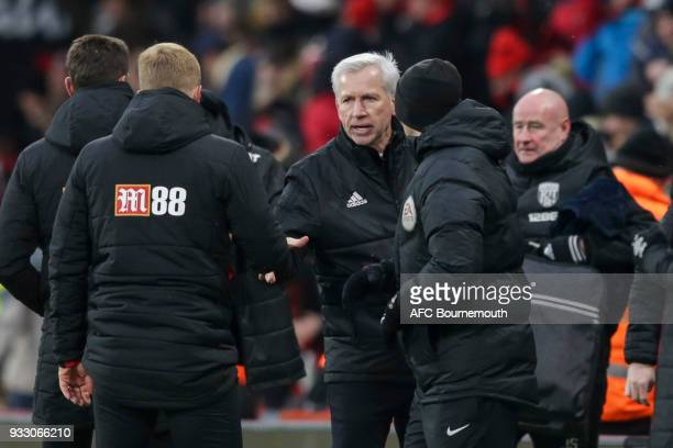 West Brom manager Alan Pardew at the end of his sides 21 defeat during the Premier League match between AFC Bournemouth and West Bromwich Albion at...