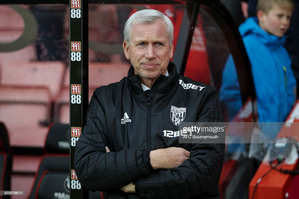 West Brom manager Alan Pardew before the Premier League match between AFC Bournemouth and West Bromwich Albion at Vitality Stadium on March 17, 2018 in Bournemouth, England.
