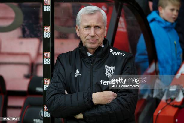 West Brom manager Alan Pardew before the Premier League match between AFC Bournemouth and West Bromwich Albion at Vitality Stadium on March 17 2018...