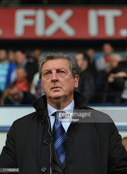 West Brom manager Roy Hodgson looks on before the Barclays Premier League match between West Bromwich Albion and Liverpool at The Hawthorns on April...