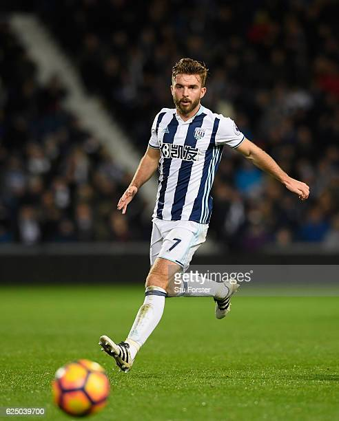 West Brom player James Morrison in action during the Premier League match between West Bromwich Albion and Burnley at The Hawthorns on November 21...