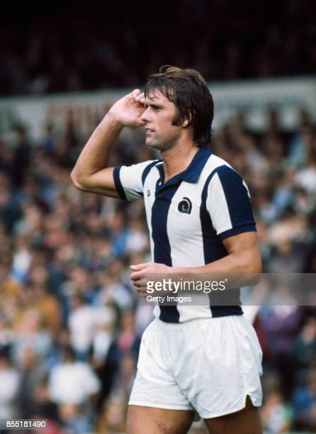 West Brom striker Geoff Hurst reacts during one of his 12 appearances for the club at the start of the 1975/76 season in Birmingham, England.