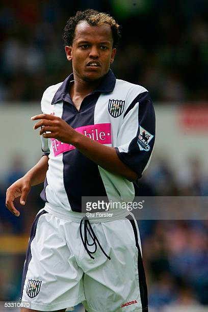West Brom striker Robert Earnshaw during the Friendly match between Cardiff City and West Bromwich Albion at Ninian Park on July 31 2005 in Cardiff,...