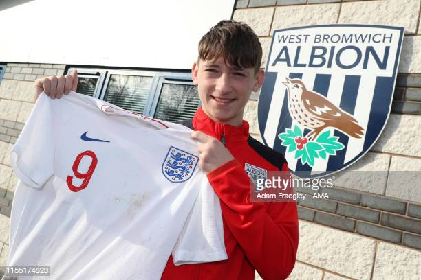 West Bromwich Albion academy player Louie Barry with an England shirt after representing England taken in West Bromwich England on November 11 2018