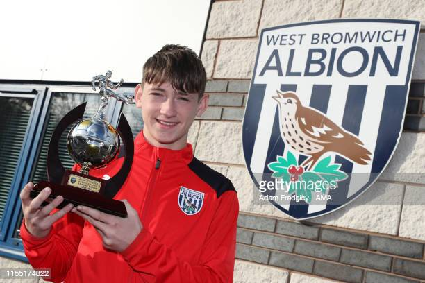 West Bromwich Albion academy player Louie Barry with his trophy Golden Boot after representing England taken in West Bromwich England on November 11...