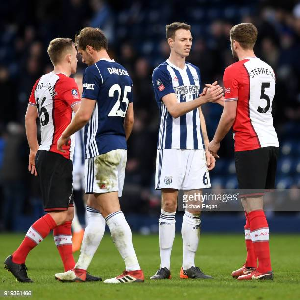 West Bromwich Albion and Southampton players shake hands following the The Emirates FA Cup Fifth Round between West Bromwich Albion v Southampton at...