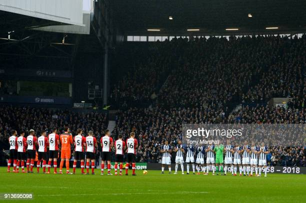 West Bromwich Albion and Southampton teams take part in a minute applause in tribute to Cyrille Regis ahead of the Premier League match between West...