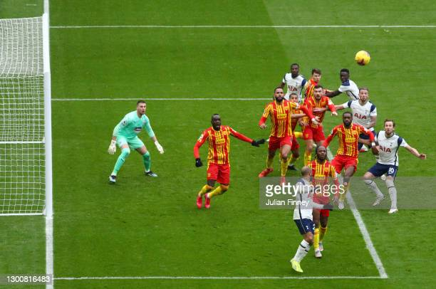 West Bromwich Albion and Tottenham Hotspur players challenge in the box to win the corner ball during the Premier League match between Tottenham...