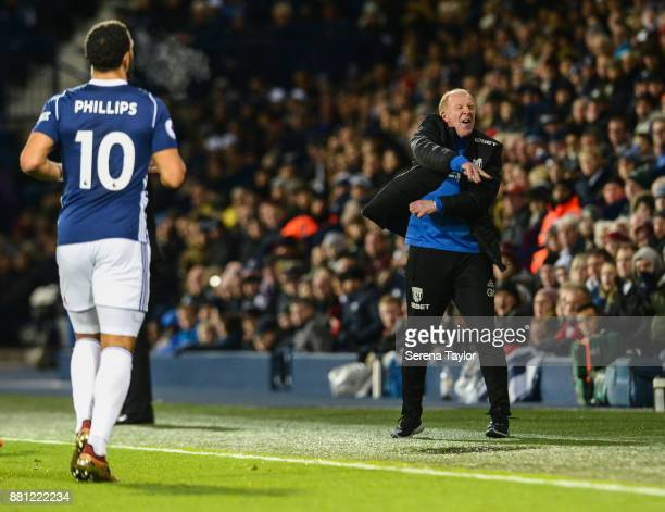 West Bromwich Albion Assistant Head Coach Gary Megson shouts from the sidelines during the Premier League match between West Bromwich Albion and...