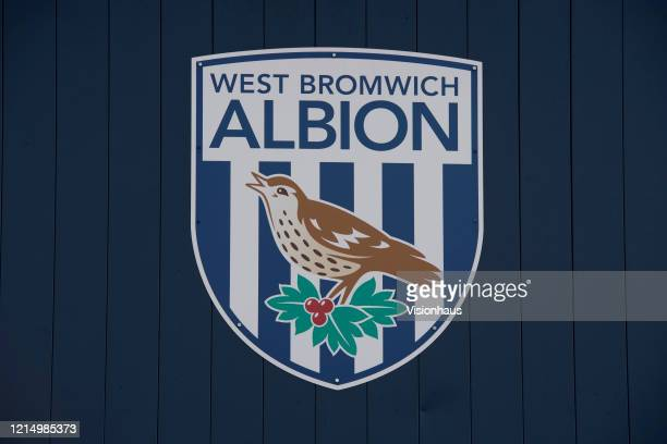 West Bromwich Albion club crest on the side of the Smethwick End of the Hawthorns home of West Bromwich Albion FC on March 23 2020 in West Bromwich...