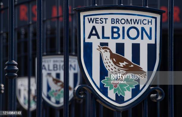 West Bromwich Albion club crests on the Jeff Astle gates at the Birmingham Road End of the Hawthorns home of West Bromwich Albion FC on March 23 2020...
