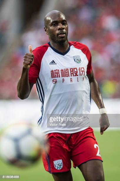 West Bromwich Albion defender Allan Nyom in action during the Premier League Asia Trophy match between Leicester City FC and West Bromwich Albion at...