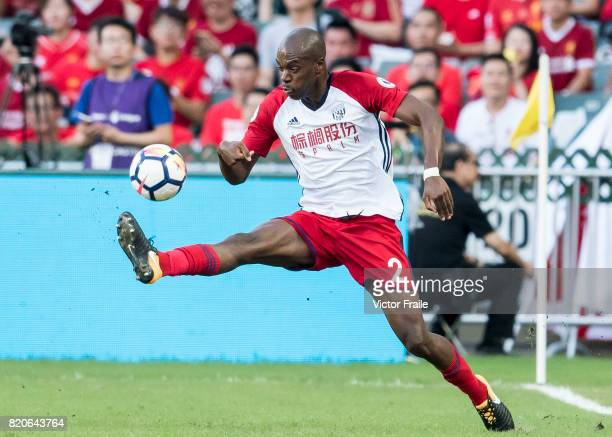 West Bromwich Albion defender Allan Nyom in action during the Premier League Asia Trophy match between West Brom and Crystal Palace at Hong Kong...