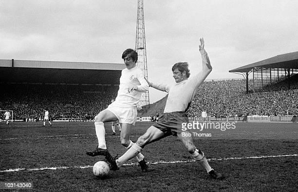 West Bromwich Albion defender John Kaye tackles Leeds United striker Allan Clarke during their First Divison match at Elland Road in Leeds 17th April...