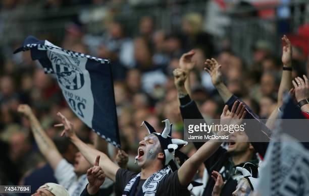 West Bromwich Albion fans show their colors during the CocaCola Championship Playoff Final between Derby County and West Bromwich Albion at Wembley...