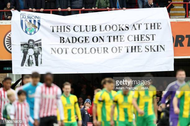 West Bromwich Albion Fans unveil an anti racism banner in response to Radio Station Talk Sport and Adrian Durham who commented on the sacking of...