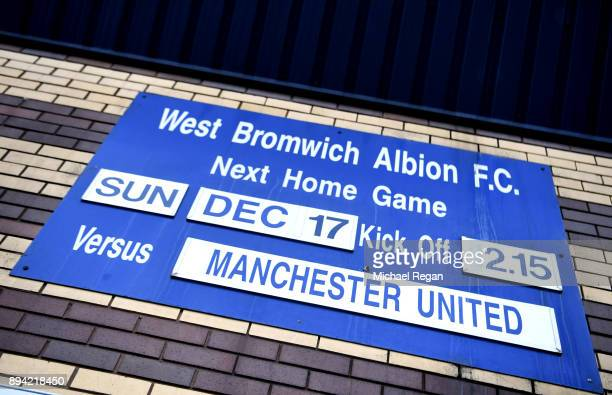 West Bromwich Albion fixture board outside the stadium prior to the Premier League match between West Bromwich Albion and Manchester United at The...