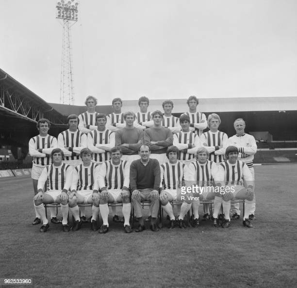 West Bromwich Albion Football Club team squad posed together on the pitch at The Hawthorns stadium in West Bromwich at the start of the 1970-71...