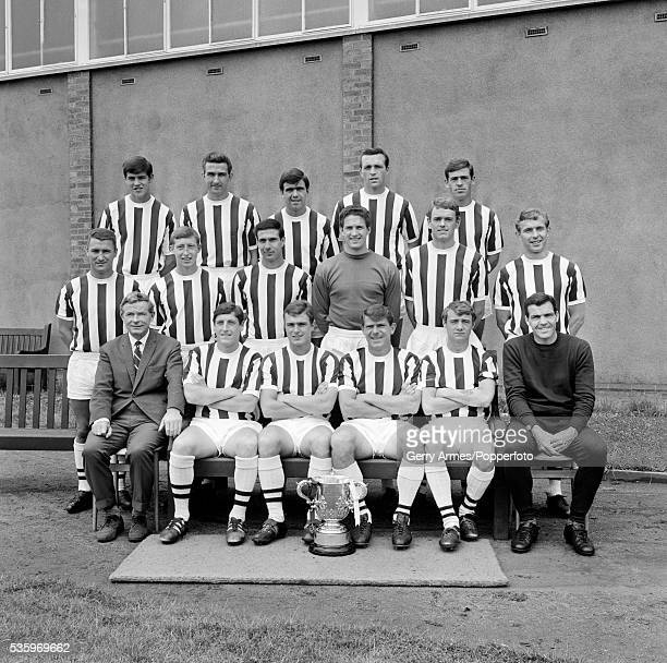 West Bromwich Albion Football Team with the League Cup 29th July 1966 Back row Graham Lovett Stan Jones Bobby Hope Jeff Astle Doug Fraser Middle...