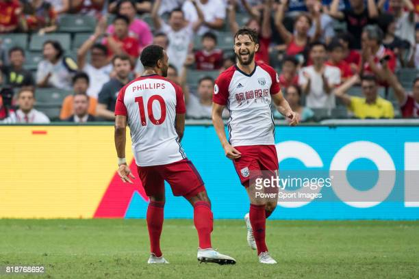 West Bromwich Albion forward Jay Rodriguez celebrates with teammate West Bromwich Albion midfielder Matt Phillips during the Premier League Asia...